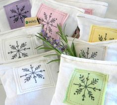 Lavender Sachet Dryer Pillow Snowflake PATCHED upcycled from tShirt materials - even patches!