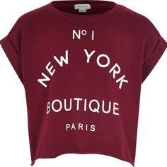 Girls dark red boutique print t-shirt - t-shirts - t-shirts / vests - girls