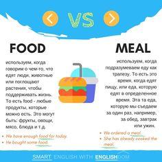 """Сегодня в нашей рубрике сравнения #ED_vs такие два вкусные слова как food и meal  Оба эти слова на английский язык можно перевести как """"еда"""", однако разница между их использованием все-таки есть:  food - еда, пища: используем, когда говорим о чем-то, что едят люди, животные или поглощают растения, чтобы поддерживать жизнь. Это любые продукты и блюда, которые можно есть. Это неисчисляемое существительное.  meal - еда, принятие пищи, трапеза; используем, когда подразумеваем еду как трапе..."""