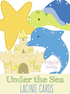 Fine motor practice with these adorable under the sea lacing cards