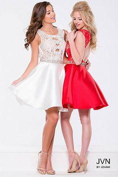 White Lace Fit and Flare Short Dress JVN41672 #JVN #HomecomingDress #ShortDress