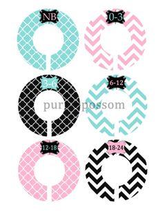 Custom Closet Dividers Baby Closet Dividers Pink Aqua and Black Patterns Baby Shower Gift Closet Organizers Baby Girl Nursery