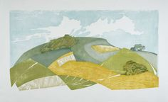 South Downs Chalk, Summer ~ Japanese waterbased woodblock, 1220 x 720 ~ Laura Boswell