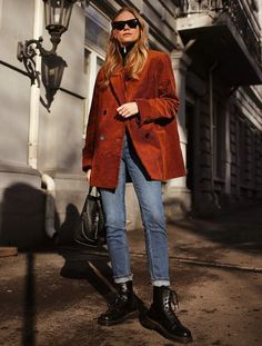 How to wear ankle boots with skinny jeans: Tine Andrea in a cord blazer, rolled-up jeans and lace-up boots