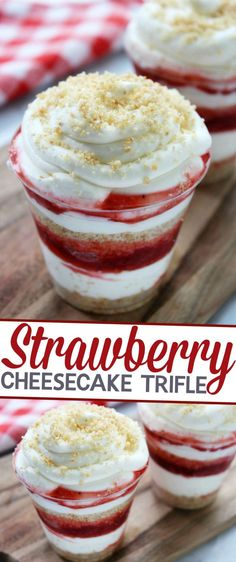 Trifle This Strawberry Cheesecake Trifle is an easy, no fuss, summer dessert perfect for serving at summer parties!This Strawberry Cheesecake Trifle is an easy, no fuss, summer dessert perfect for serving at summer parties! Cheesecake Trifle, Trifle Desserts, Trifle Recipe, Strawberry Cheesecake, Mini Desserts, No Bake Desserts, Delicious Desserts, Dessert Recipes, Mini Trifle