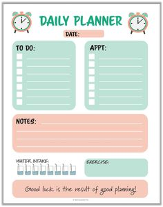 Daily Planner Pages, Daily Planner Printable, Study Planner, Planner Book, Blog Planner, Planner Template, Weekly Planner, 2015 Planner, Pink Planner