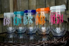 Bride & Bridal Party Stemless Acrylic Wine Glass with Lid - Bev2Go - 8 Color…