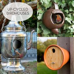 6 Sensational Up-cycled Birdhouses » Curbly   DIY Design Community - Love the teapots!