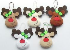 Felt Reindeer Christmas Decoration Christmas by DevelopingToys Baby Christmas Crafts, Cute Christmas Decorations, Reindeer Decorations, Christmas Applique, Reindeer Ornaments, Felt Christmas Ornaments, Xmas Crafts, Felt Crafts, Reindeer Christmas