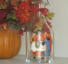 Country Harvest Glass Vase  Fall Decoration by WyliesWhimsicals