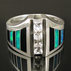 sterling silver man's white sapphire ring inlaid with black onyx and Australian opal