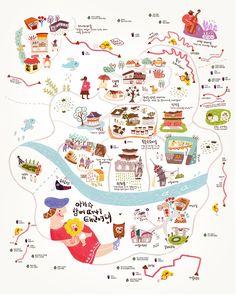 산그림 작가의 개인 갤러리 입니다. 라나킴 Leaflet Design, Map Design, Travel Design, Seoul Map, Textiles Sketchbook, Life Map, Tourist Map, Cafe Art, Art Competitions