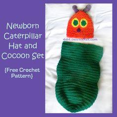 Newborn Caterpillar Hat and Cocoon | AllFreeCrochet.com