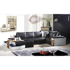 Divani Casa 2314 Contemporary Leather Sectional Sofa. With a Modern design in a sleek look of black and white with side panel storage and a beautiful back corner design for a perfect edge finish Dimensions:  Color: Multi-Toned Finish:   -