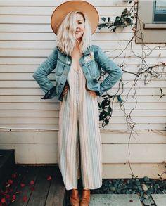 Striped jumpsuit that I can wear belted or unbelted Striped Jumpsuit, Boho  Fashion, Estilo c5f666931c