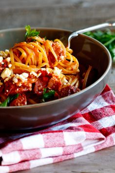 Chorizo & Tomato Pasta - not really a Mexican dish but the combination of flavors really appeals to me.