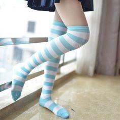 Sexy Socks, Cute Socks, Cute Stockings, Striped Socks, Striped Thigh High Socks, Latex Fashion, Fashion Goth, Cosplay, Thigh Highs