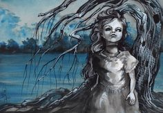 old doll with weeping willow 9x12 watercolor and by resonanteyes