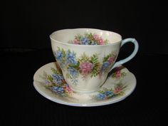 Royal Albert 'Wisteria' Blossom Time Series Vintage Teacup and Saucer, Standard Size, Bone China Made in England by mycabbageroseshoppe on Etsy