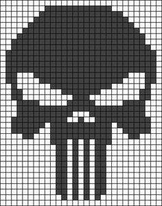Alpha friendship bracelet pattern added by punisher skull super hero. Crochet Skull Patterns, Melty Bead Patterns, Bead Loom Patterns, Perler Patterns, Beading Patterns, Cross Stitch Patterns, Pixel Crochet Blanket, Crochet Blanket Patterns, Minecraft Pixel Art