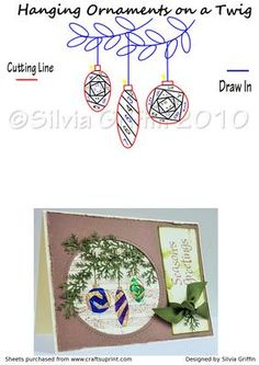 Hanging Ornaments on a Twig on Craftsuprint designed by Silvia Griffin - Great Christmas pattern. You may want to place a picture of you and the kids in the IRIS and send it that way to your family and friends. - Now available for download!