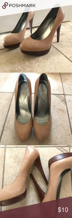 Guess Wgreagan Beige Platforms Worn a few times, beautiful heels and amazing color. Leather upper and gorgeous wooden heel. Very light scuffing on the leather. 4 1/2 heel Guess Shoes Platforms