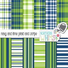 Navy and Lime Plaid Digital Paper Pack – masculine navy blue and lime green scrapbook papers in seamless plaid and stripes – commercial use ok