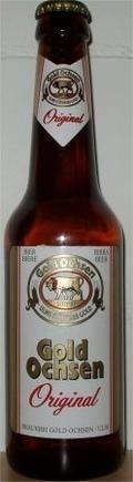 Cerveja Gold Ochsen Original, estilo Munich Helles, produzida por Brauerei Gold Ochsen, Alemanha. 5.1% ABV de álcool.