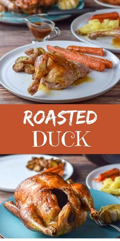 Roasted Duck - Moist and Scrumptious - Dishes Delish Crispy Duck Recipes, Roasted Duck Recipes, Slow Cooker Duck Recipes, Dinner Dishes, Food Dishes, Dinner Recipes, Food Food, Main Dishes, Kfc Chicken Recipe