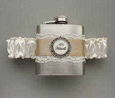 Wedding GARTER FLASK Bridal Garter in Ivory & by MoonshineBelle