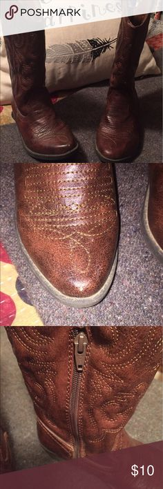 Girls reddish brown pull on Cherokee cowboy boots Girls size 2. reddish brown pull on Cherokee cowboy boots with half zipper. GUC with slight scuff on right toe-see 2nd pic. My daughters favorite boots but unfortunately we have outgrown! Cherokee Shoes Boots