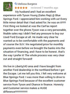 That's wonderful! We are so glad you had such a great experience at Blue Springs Ford!