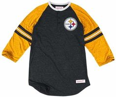 Pittsburgh Steelers Mitchell   Ness Assistant Coach Tri-Blend Henley Shirt 095c06832