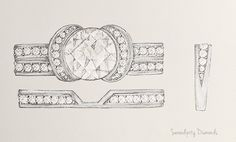 Shaped diamond wedding ring to match the Tiffany Ribbon Ring. Preliminary sketch for our client before starting work on the wax model.