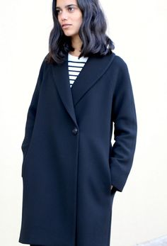 Just in time for winter, meet our new pattern – the Oslo Coat! This stylish and timeless coat is fully lined and features a slim double breast, shawl collar, full length raglan sleeves and side pockets. Oslo is a classic straight fit and. Coat Pattern Sewing, Sewing Coat, Coat Patterns, Jacket Pattern, Sewing Clothes, Sewing Patterns, Clothes Patterns, Skirt Patterns, Pattern Drafting