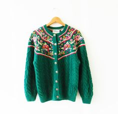 Boho Vintage Floral Cable Knit Cardigan / Forest by thehappyforest