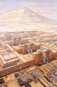"arjuna-vallabha: "" Egypt - Thebes (left bank) - The Amenophium (funerary temple) by Jean Claude Golvin "" Ancient Egyptian Art, Ancient History, Architecture Antique, Ancient Egypt Architecture, Amenhotep Iii, Art Antique, Old Egypt, Fantasy Landscape, African History"