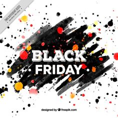 Black friday background of brushstrokes and paint stains Free Vector