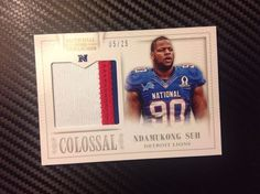 Ndamukong SUH 2013 NATIONAL TREASURES Jumbo COLOSSAL 3-color PATCH *5/25* #DetroitLions