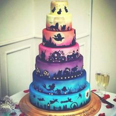 the idea of favorite Disney movies on each layer! Love the idea of favorite Disney movies on each layer! Love the idea of favorite Disney movies on each layer! Love the idea of favorite Disney movies on each layer! Crazy Cakes, Fancy Cakes, Cute Cakes, Disney Desserts, Cute Desserts, Beautiful Cakes, Amazing Cakes, Gateau Harry Potter, Funny Wedding Cakes