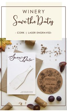 Cheers to the newly engaged couple.Build the anticipation of your wedding day with your Coaster Save the Dates. The excitement starts as soon as they receive your Save the Date in the mail..Your Save the Date will give a sneak peek of your winery wedding theme. It will invite your guests to use the coaster and they will remember your wedding date every time they drink a glass of wine. #corksavethedate #Wineryweddingsavethedates Rustic Wedding Stationery, Laser Cut Wedding Invitations, Destination Wedding Invitations, Laser Cut Invitation, Invite, Laser Cut Save The Dates, Rustic Wedding Save The Dates, Wedding Coasters, Cream Wedding