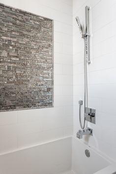 Our Tile Accent In Master Bath Vista Backdrop Metallic Bathroom Photos