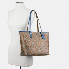 167.31$  Buy here - http://vicnh.justgood.pw/vig/item.php?t=9htmmwl5296 - Coach Signature Print Tea Rose Large City Floral Zip Top Tote Bag Khaki & Blue