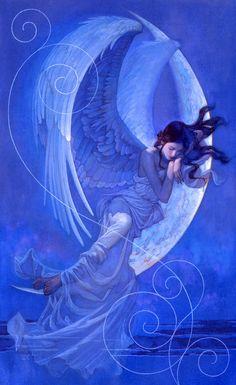 The Geeky Nerfherder: 'Moonrise' & 'Moonset' by Tsuyoshi Nagano Angels Among Us, Angels And Demons, Drawn Art, Ange Demon, Pop Culture Art, Nagano, Guardian Angels, Angel Art, Dark Souls