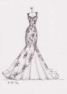 Resultado de imagem para marriage dress sketches