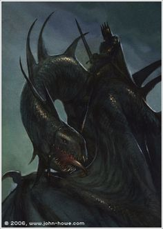 Nazgul I just love the John Howe design. though I admit when I read the book I pictured a menacing black swan type creature. I do think this is more effective. Jrr Tolkien, Tolkien Books, Alan Lee, Dark Fantasy, Fantasy Art, John Howe, Witch King Of Angmar, Morgoth, Alchemy Art
