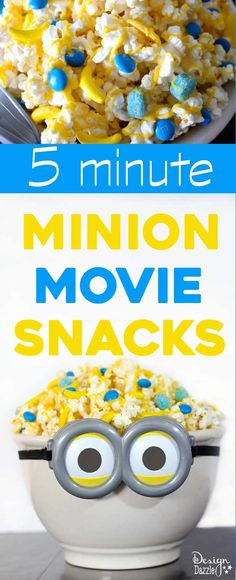 Design Dazzle has yummy 5 minute Minion Movie Snacks for you to enjoy for your Healthy Movie Snacks, Movie Night Snacks, Fun Snacks For Kids, Lunch Snacks, Yummy Snacks, Kids Meals, Snack Recipes, Kid Snacks, Movie Nights