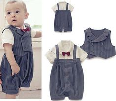 (3-21M) Baby Boy Wedding Special Occasion Christening Tuxedo Suit Outfit + Vest. SO cute!!