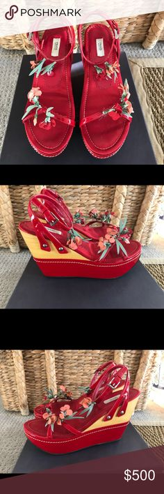RARE PRADA New in Box Red Floral Garofano Wedges❤️ These are the most beautiful shoes I've ever owned & I've never worn them further than my closet! I can't even reconcile why I haven't & I had to talk myself into Poshmarking them! They are spectacular! The satin, the wood, and the floral detailing is so special! Purchased in Florence, Italy in 2005. They come with the original box and 2 shoe bags, because they're Prada and each shoe needs it's own bag, right?!  Please ask questions…