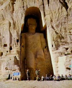 The tallest Buddha figure in the world, 55m;180 ft; created in the 3rd century A.D. in Afghanistan. Destroyed by Talibans in March 2001.